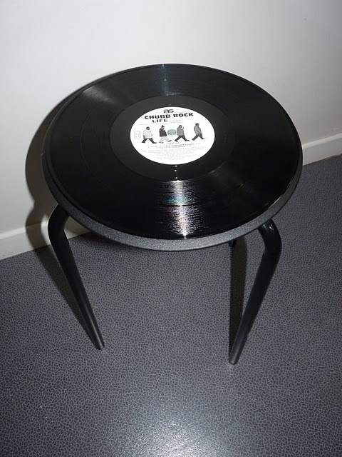 DIY IKEA Stool with vinyl record seat