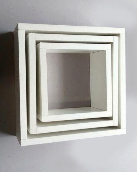 Trio de nichos decorativos para parede em mdf branco