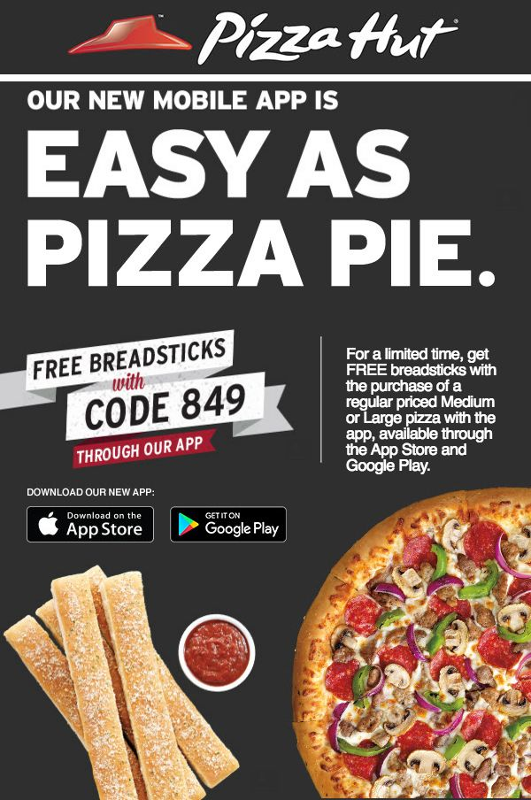 pizza hut coupon code free breadsticks 2019