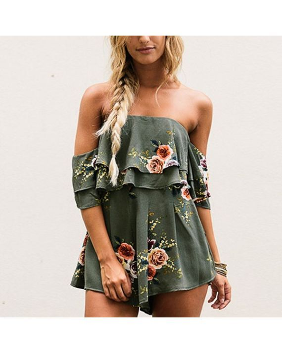 Women Strapless Sleeveless Off Shoulder Floral Print Jumpsuit One Piece Summer Romper Beach Short Playsuit