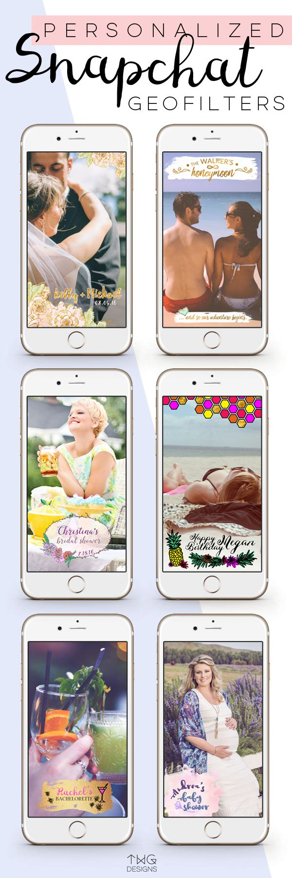 Custom Snapchat Geofilter Personalized with your NAME and event DATE! • For weddings, honeymoons, bridal showers, bachelorette parties, baby showers, birthdays, graduation, and more!