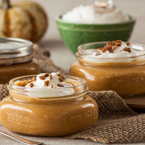 Individual Pumpkin Pies in Mason Jars