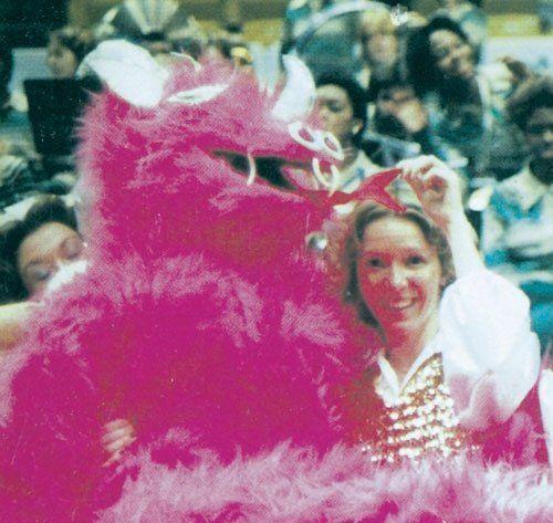 Blazers Mascot: Former UAB Blazers Pink Dragon Mascot (1978).