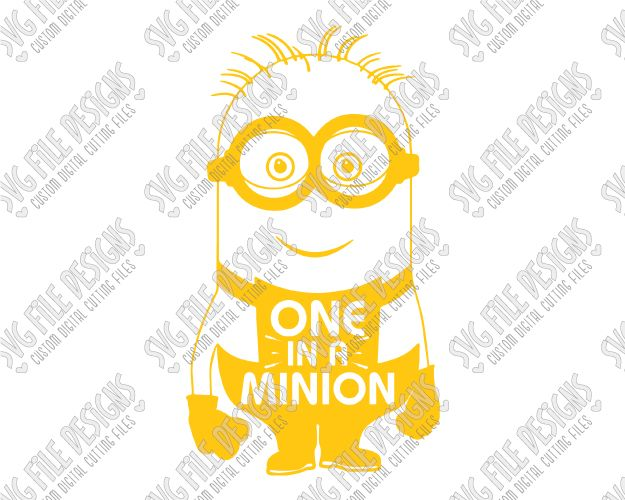 One In A Minion Word Art Cut File Set in SVG, EPS, DXF, JPEG, and PNG