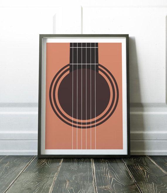 Guitar Print, Guitar Poster, Music Print, Music Poster, Minimalist Print, Minimalist Poster, Minimalist Music Art, Wall Art Print Modern Art