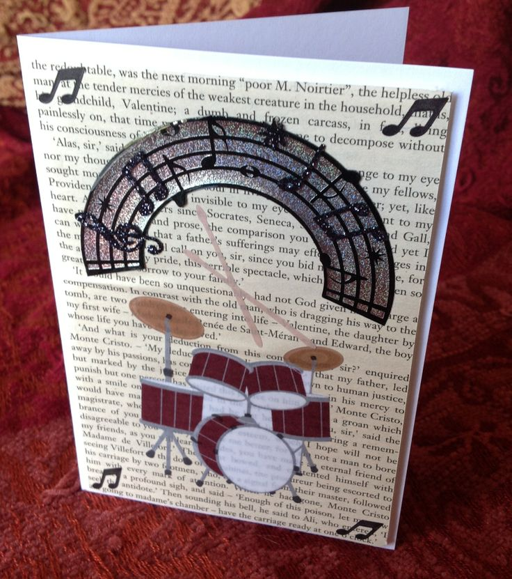 A Beautiful handmade music themed card. It uses recycled book page for the background. Sold on ETSY!