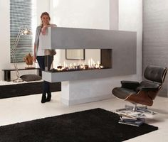 fireplace 3 sided modern kitchen living room - Google Search