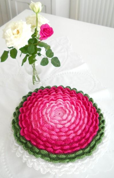 Crocheted large flower design with many petals