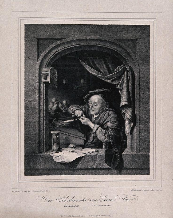 F. Hanfstaengl: de oude schoolmeester scherpt zijn pen bij het raam met zijn studenten op de achtergrond. Litho. 1836. Wellcome Library, London. Naar Gerard Dou: Oude man die zijn pen snijdt, ook genoemd: de oude schoolmeester. 1671