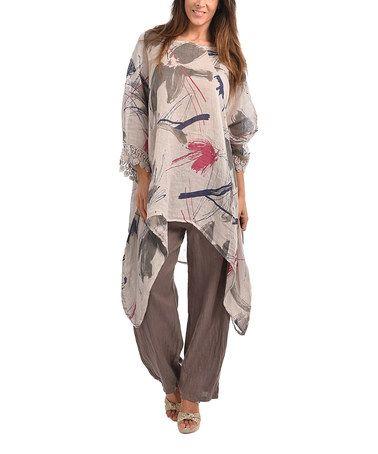 Look what I found on #zulily! Beige Anna Linen Sidetail Tunic - Plus Too #zulilyfinds