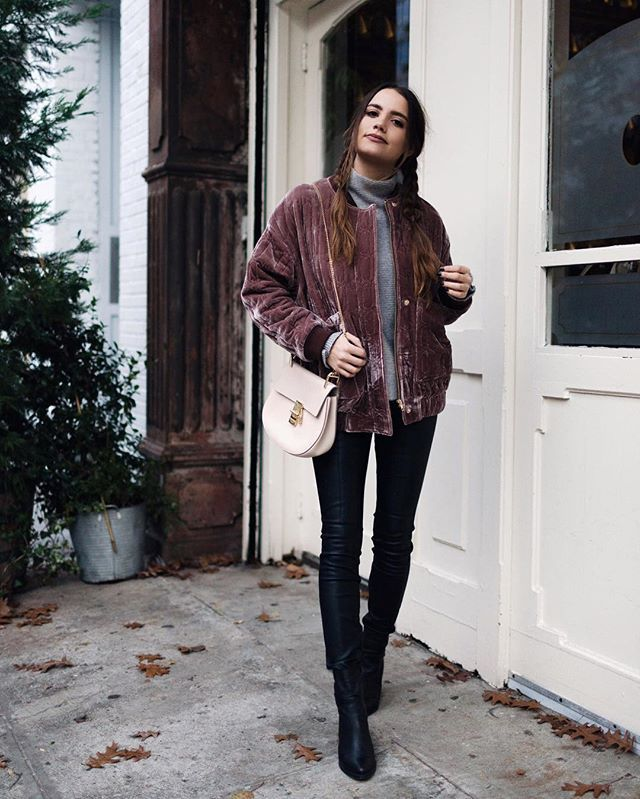 Velvet bomber + leather #ootd  // - @moderngypsymedia