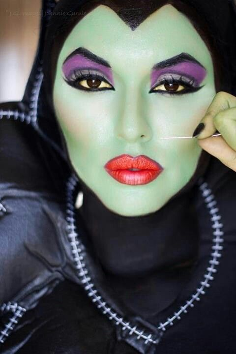 Maleficent.  I'm repinning this as an excellent Halloween makeup tutorial for myself: