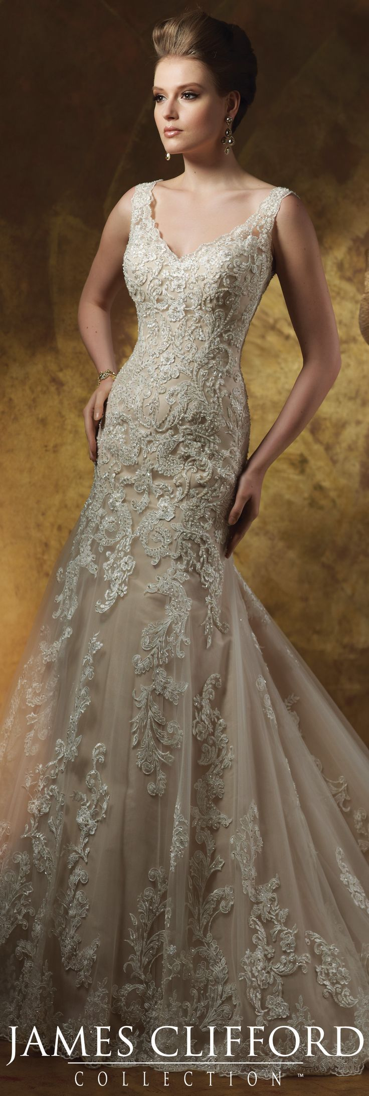 The James Clifford Fall 2015 Wedding Dress Collection - Style No. J21501 #laceweddingdresses