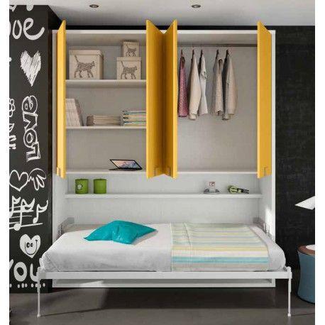 Cama abatible con armario. Armario con puertas, libreria interna y cama abatible horizontal, fabricada en Espana. Encuentra esto y mucho más.