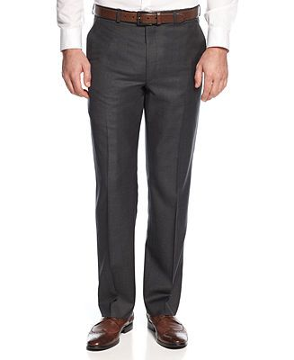 Lauren by Ralph Lauren Solid Charcoal Dress Pants Big and Tall - Suits & Suit Separates - Men - Macy's