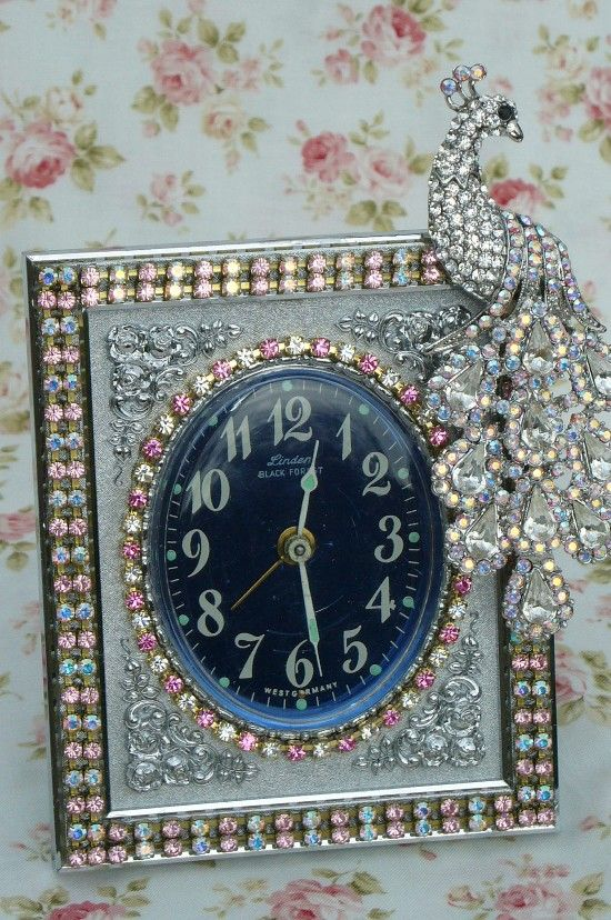 Beautiful Pink Rhinestone  & Peacock Jeweled  Linden Black Forest Vintage Alarm Clock By Debbie-Phinney, Walker, Clock, Vintage, Pink, Rhinestones, Alarm, Victorian, Linden, Black Forest, bling
