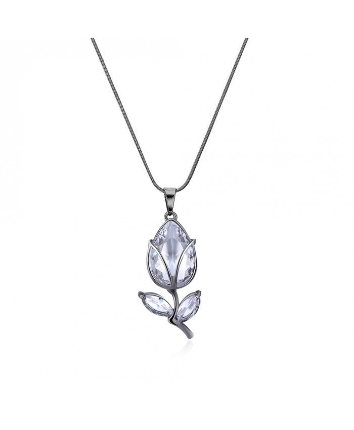 Ouruora Black Gun Plated Crystal Blossom Pendant Necklace