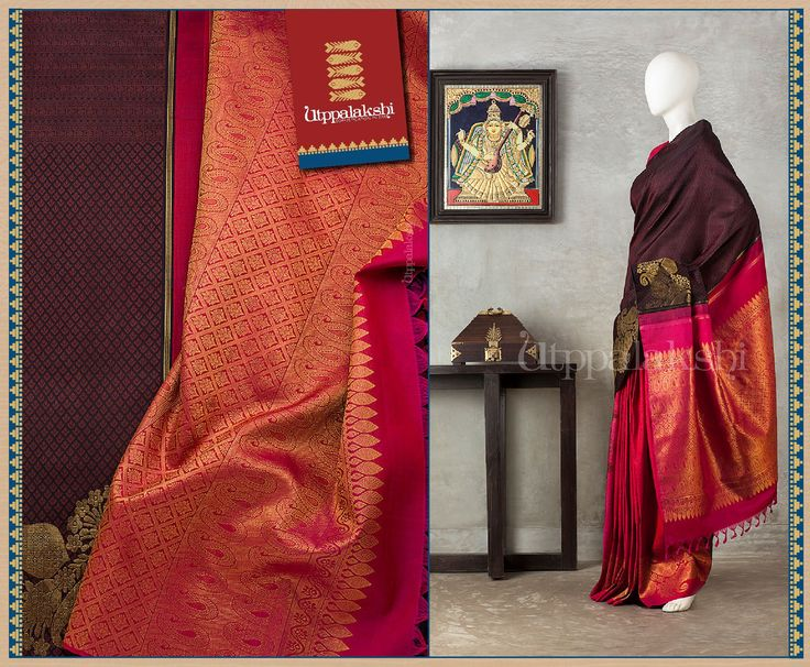 The rich brown and pink provide an exotic backdrop. Elaborate floral zari saga (replete with mango motifs) is spun on the border and the pallu. #Utppalakshi #Silksaree#Kancheevaramsilksaree#Kanchipuramsilks #Ethinc#Indian #traditional #dress#wedding #silk #saree #weaving#Chennai #boutique #vibrant#exquisit#weddingsaree#sareedesign #colorful #vivid #indian #southindian #bridal #festival #sophistication   https://www.facebook.com/Utppalakshi/   Contact: 097899 37149