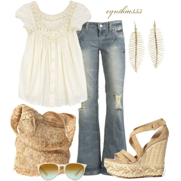Late summer into fall: Shoes, Feathers Earrings, Summer Fashion, Summer Day, Summer Outfit, Shirts, Summer Wheat, Fashionista Trends, Wedges
