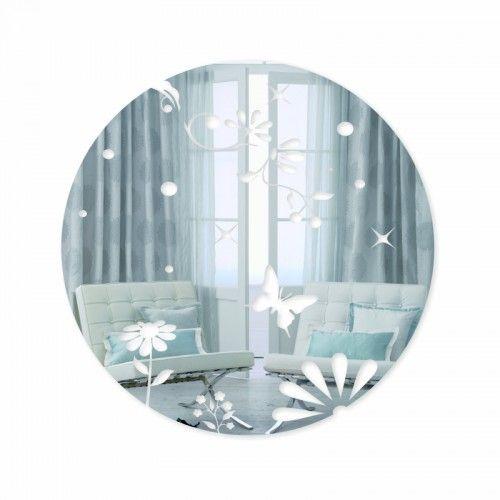 Okrúhle zrkadlá na stenu so vzorom motýľov
