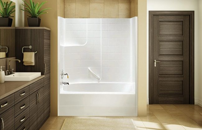 upstairs bath tub shower surround fiberglass one piece