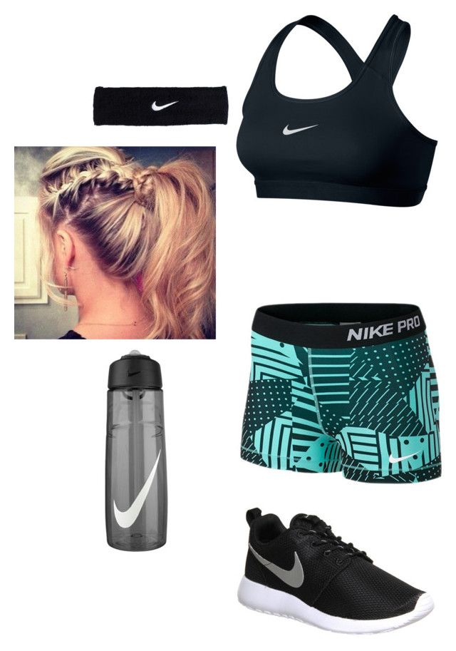 """""""Morning jog in Nike gear ;)"""" by peightonburns ❤ liked on Polyvore featuring NIKE"""