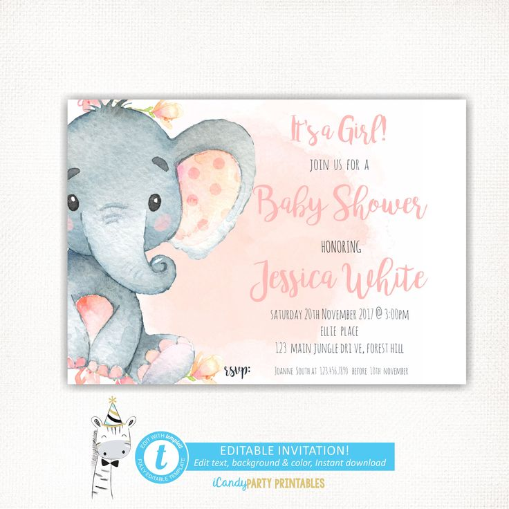 pink elephant baby shower invitation  it u0026 39 s a girl baby