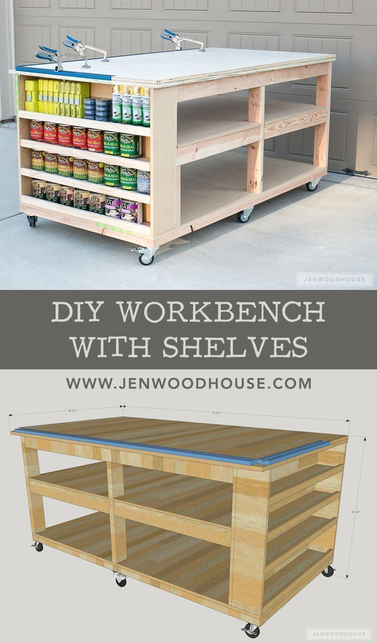How to build a DIY workbench with shelves. Free plans by Jen Woodhouse #howtowoodworking #WoodworkingPlansWorkbench
