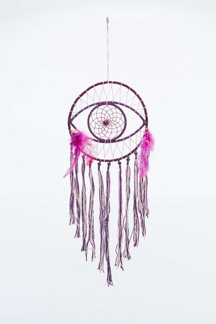 Attrape-rêves motif œil en daim violet