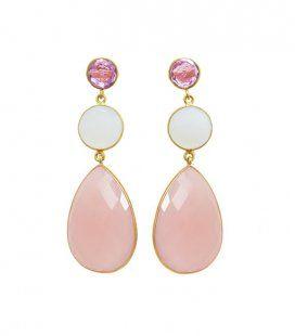 Pendientes de fiesta Rosa Cuarzo.  Y como sabéis... ¡todas nuestras joyas son PERSONALIZABLES!  Consúltanos!! ☺  welowe.com