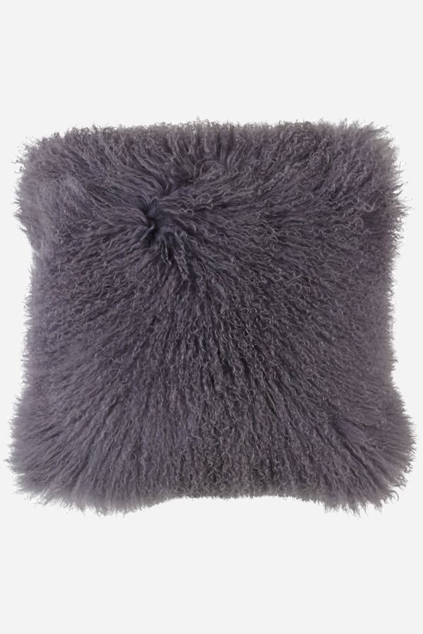 Mongolian Sheepskin Cushion - Dark Grey