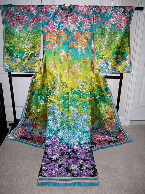 Modern wedding kimono by santapaws4xmas, via Flickr