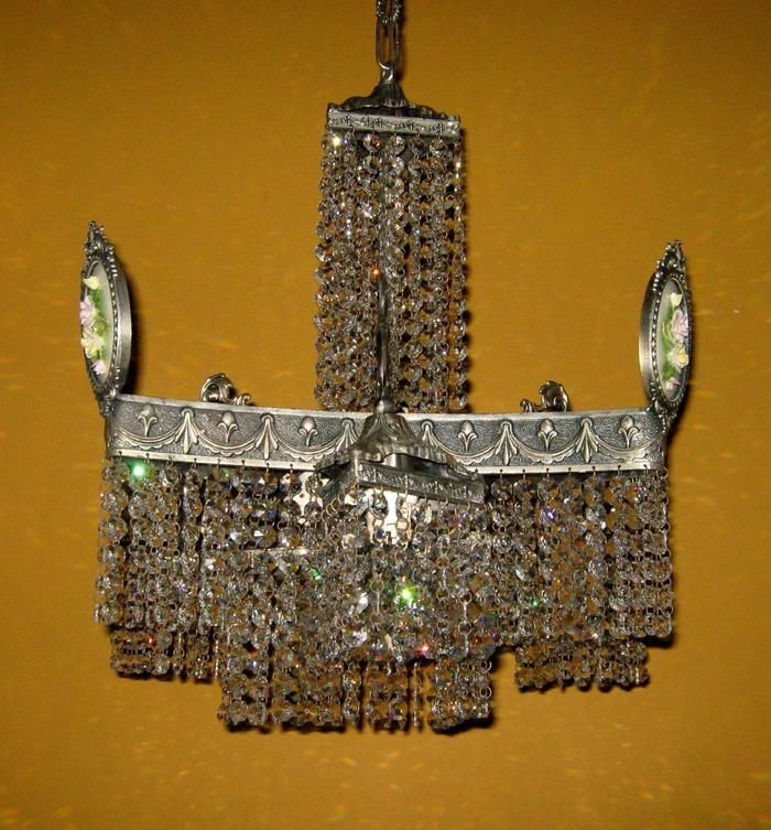 Art Nouveau crystal and silvered bronze seven light chandelier