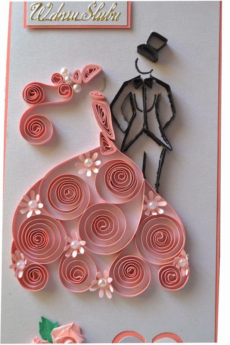 Quilled wedding card - by: nietylkokartk.blogspot.com