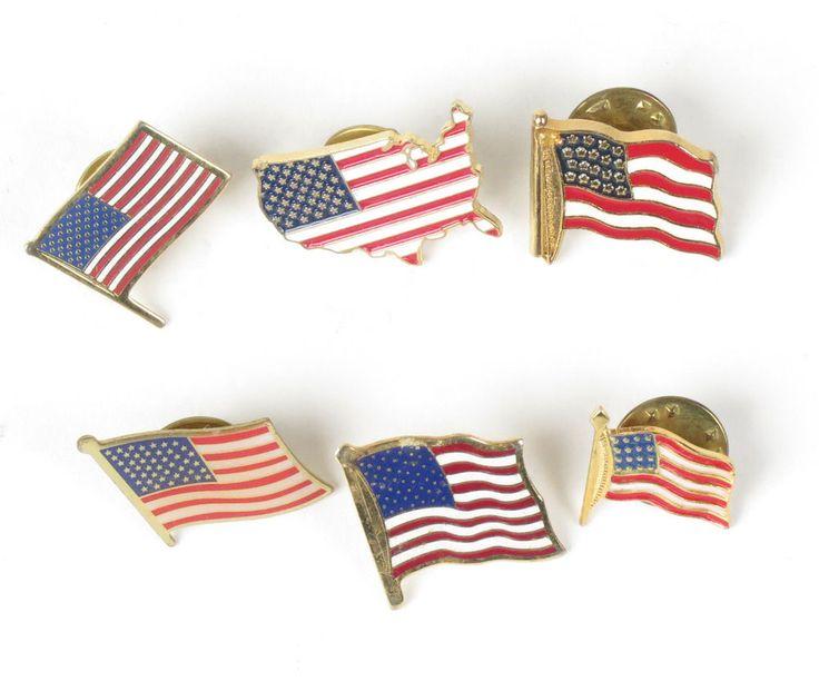 American flag lapel pin lot 6 vtg pinback tie tack gold tone USA patriotic #patriotic #america