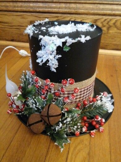 Snowman hat made from coffee can and plastic plate then decorated.