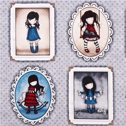 grey girl children panel fabric Simply Gorjuss Quilting Treasures 1