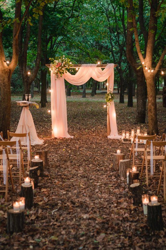 Panneaux de mousseline de soie de voûte de mariage, drapé à baldaquin, rideaux Chuppah avec poche pour tringle – My Vision…