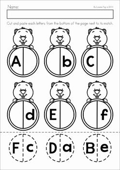 Groundhog Day Preschool Math and Literacy No Prep worksheets and activities. A page from the unit: alphabet match cut and paste