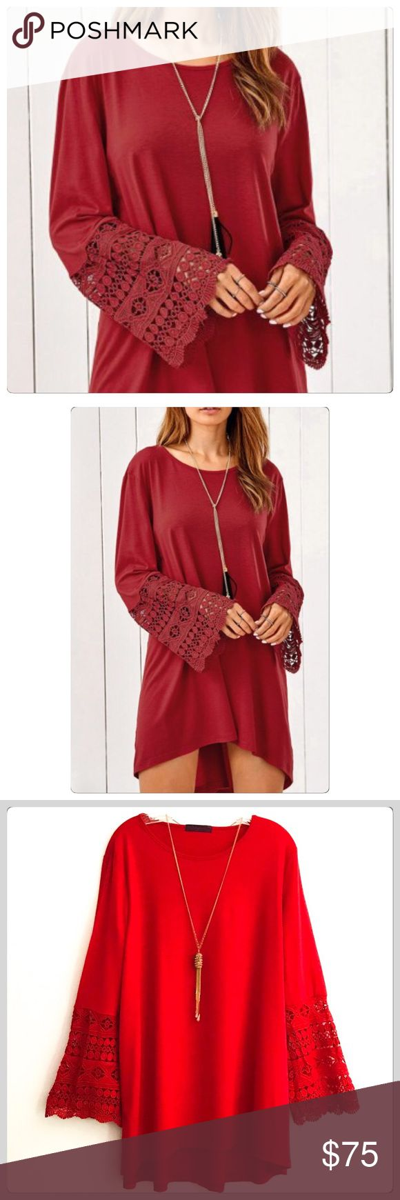 NWT Captivating Holiday Red Crochet Sleeve Dress The true color is the last three pictures! It is the absolute perfect dress for the holidays! It flows so pretty and has gorgeous crochet bell sleeves! They are stunning! Has a hi low hem! It is a nice weight material which is super nice! It is a beautiful cotton blend! I believe this would be fine on some large sizes too! Go by measurements! Boutique Dresses Mini