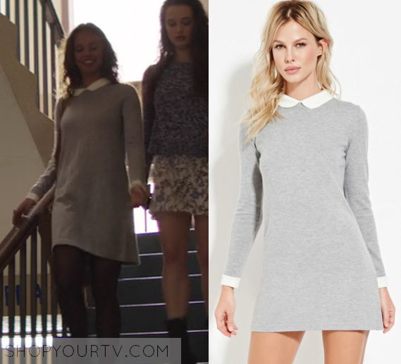 """Jessica Davis (Alisha Boe) wears this grey long sleeved collared dress in this episode of 13 Reasons Why, """"Tape 1, Side B"""". [...]"""