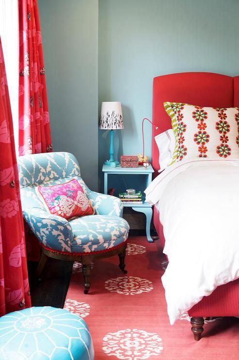 Red & turquoise blue teen girl's bedroom with turquoise blue walls paint color, red bed, blue ...