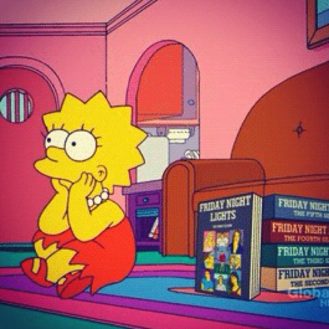 Lisa Simpson watches Friday Night Lights