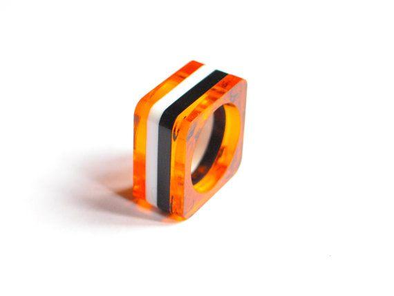Black, white and orange stripes ring. Lucite ring. Laser cut. Plastic ring. contemporary. Perspex, plexiglas