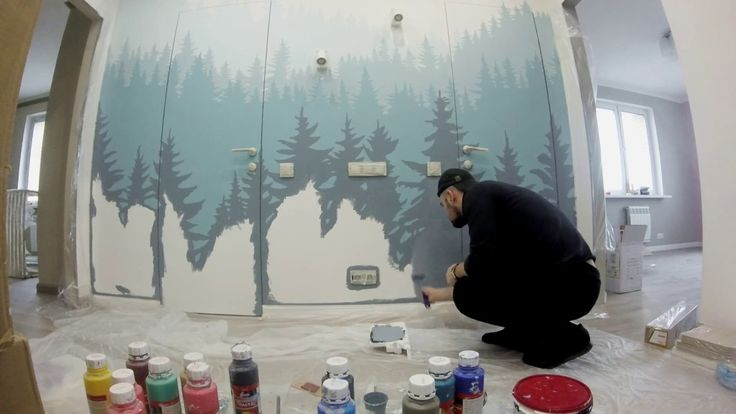 роспись стен ёлки доска