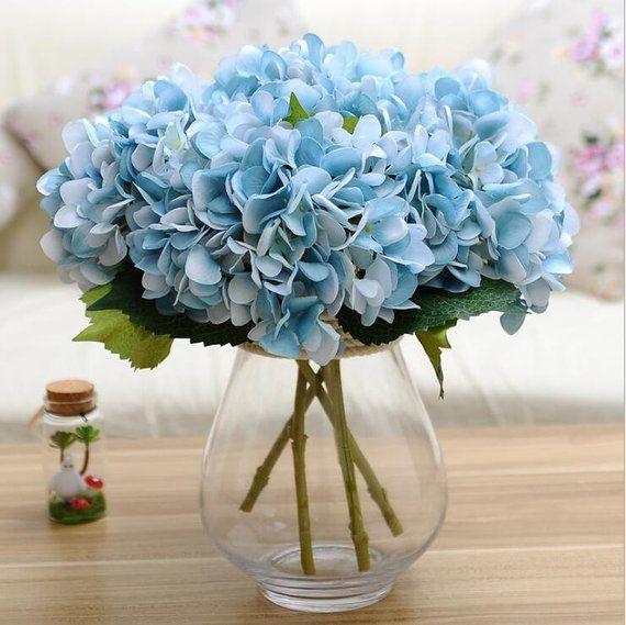 Light Blue Hydrangea Real Like Artificial Silk Hydrangea Etsy Flower Centerpieces Wedding Flower Centerpieces Blue Hydrangea Centerpieces