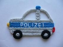 Polizeiauto - Häkelapplikation
