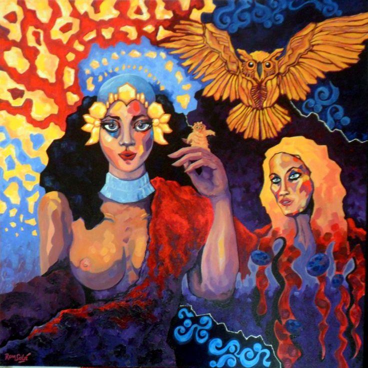 #378 Génesis de la imaginación I, Autor: RomSabi, acrílico y - esmaltes, sobre tabla de madera, 80 x 80 cm. -