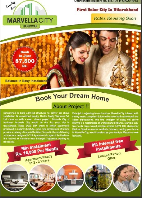 If you are looking to have room in Haridwar you can go for 1 bhk 2bhk and 3 bhk and studio apartments in Haridwar have a look at the Marvella city ..an affordable place to buy home