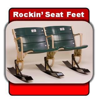 Set of 3 Oak Wood Seat Feet™ for Giants Stadium RISER MOUNTING Seats from the former home of the New York Giants, East Rutherford, New Jersey.  Hardware included